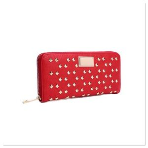 Red Studded Faux Leather Wallet